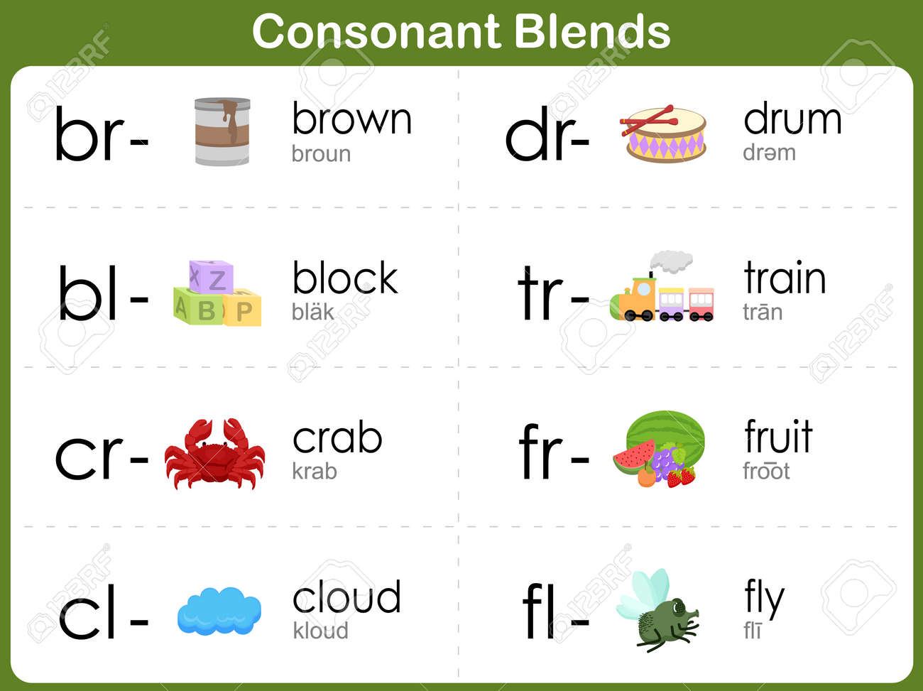 Worksheets Consonant Blend Worksheets consonant blends worksheet for kids royalty free cliparts vectors stock vector 32571597