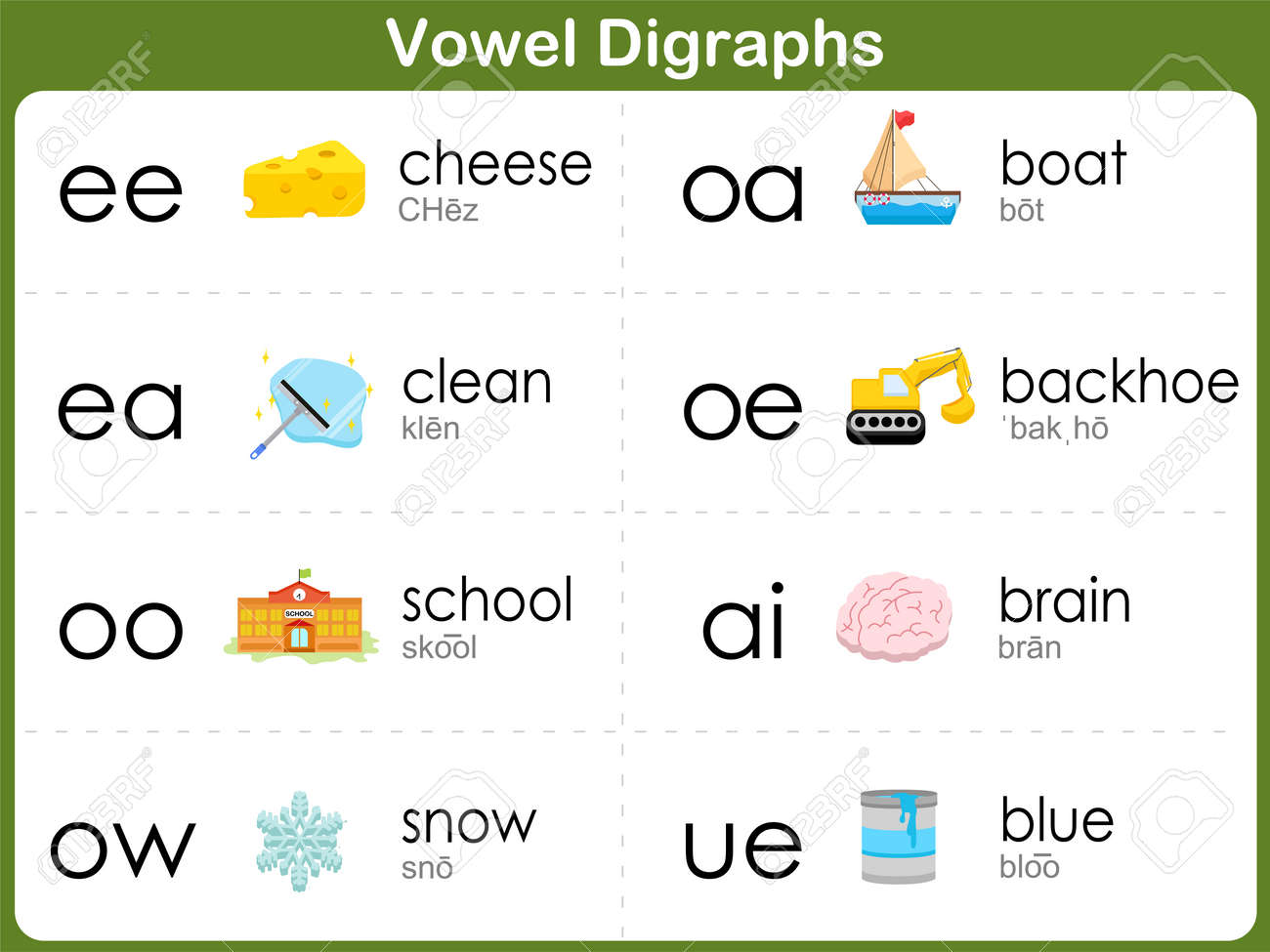 Vowel Digraphs Worksheet For Kids Royalty Free Cliparts, Vectors ...