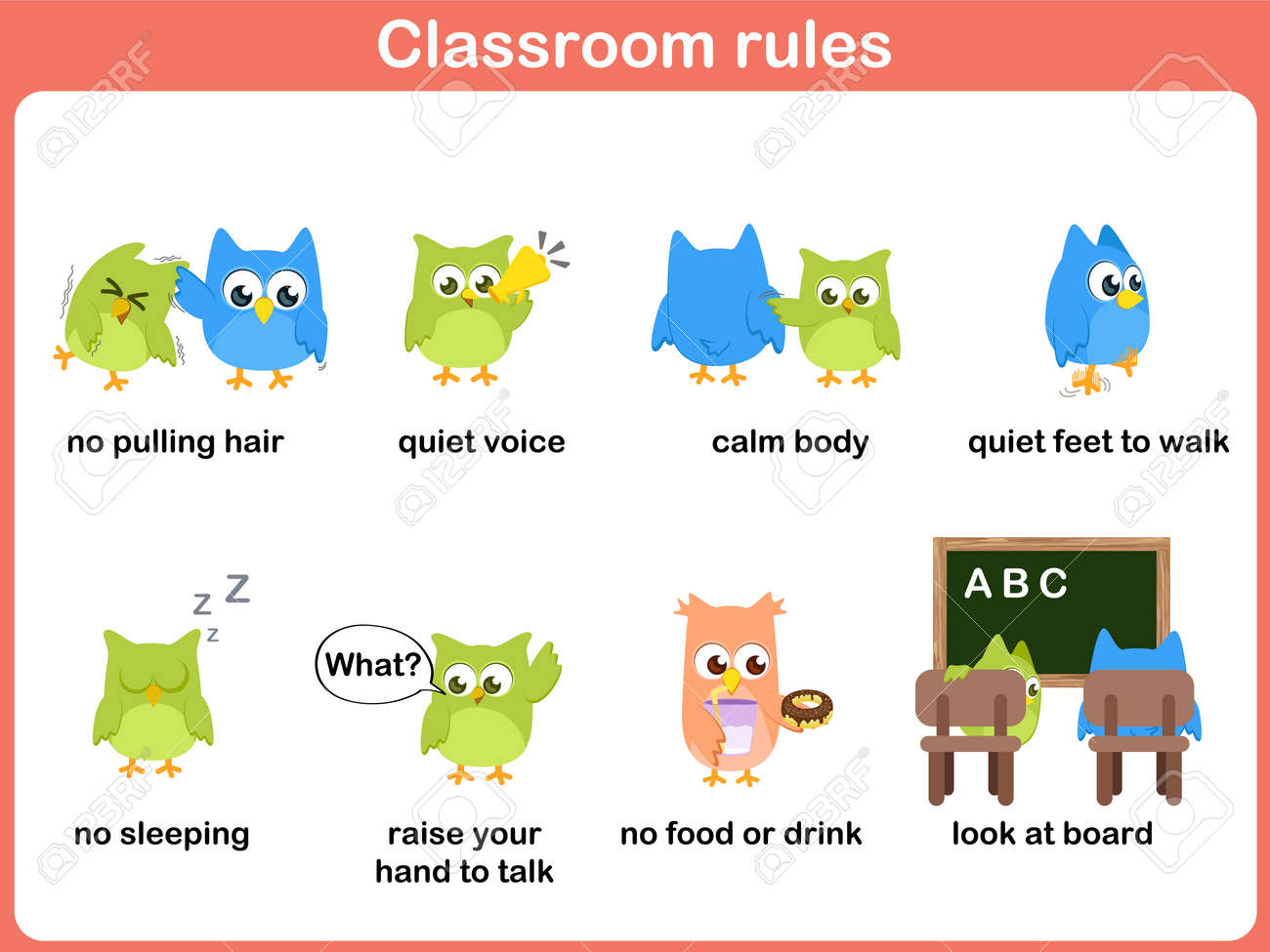 classroom rules for kids royalty free cliparts, vectors, and stock