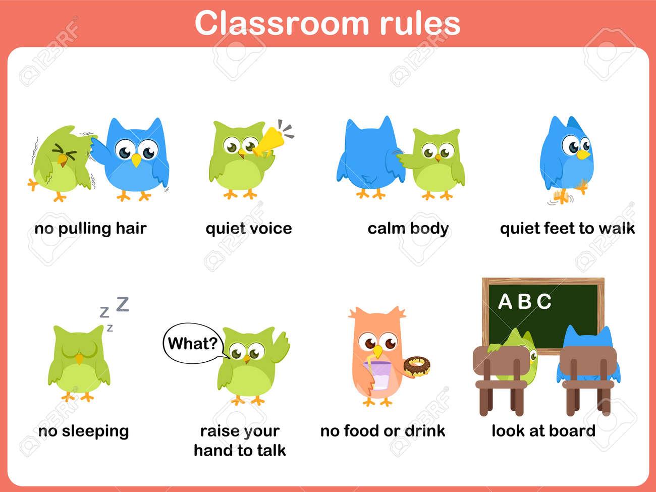 Klassenzimmer-Regeln Für Kinder Lizenzfrei Nutzbare Vektorgrafiken ...