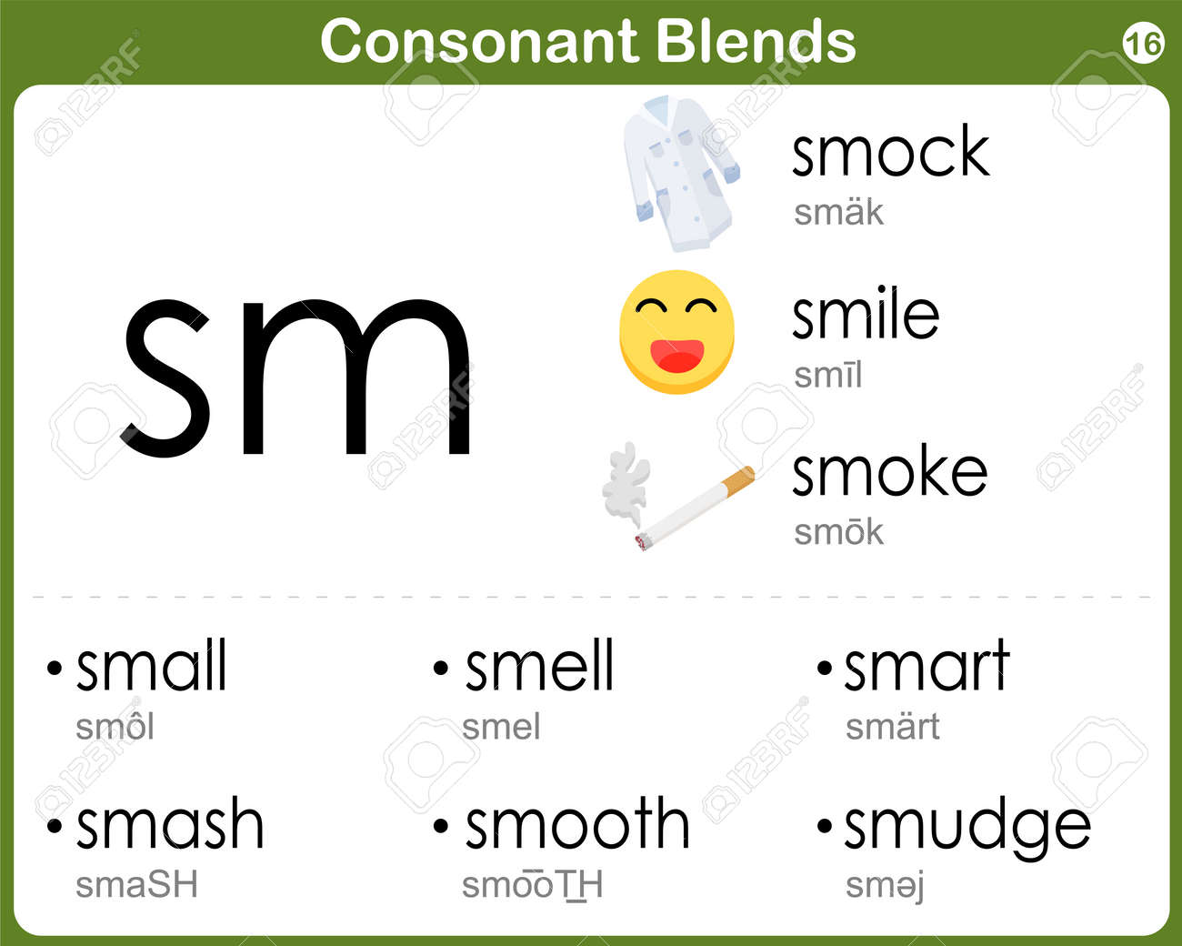 Consonant Blends Worksheet For Kids Royalty Free Cliparts Vectors – Consonant Blend Worksheets