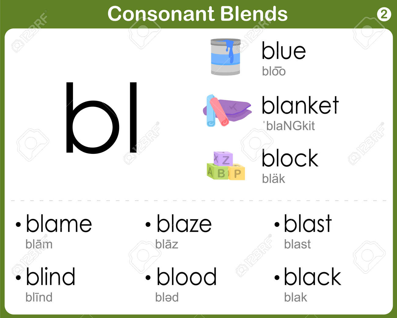 Worksheets Consonant Blends Worksheets consonant blends worksheet for kids royalty free cliparts vectors stock vector 36646107