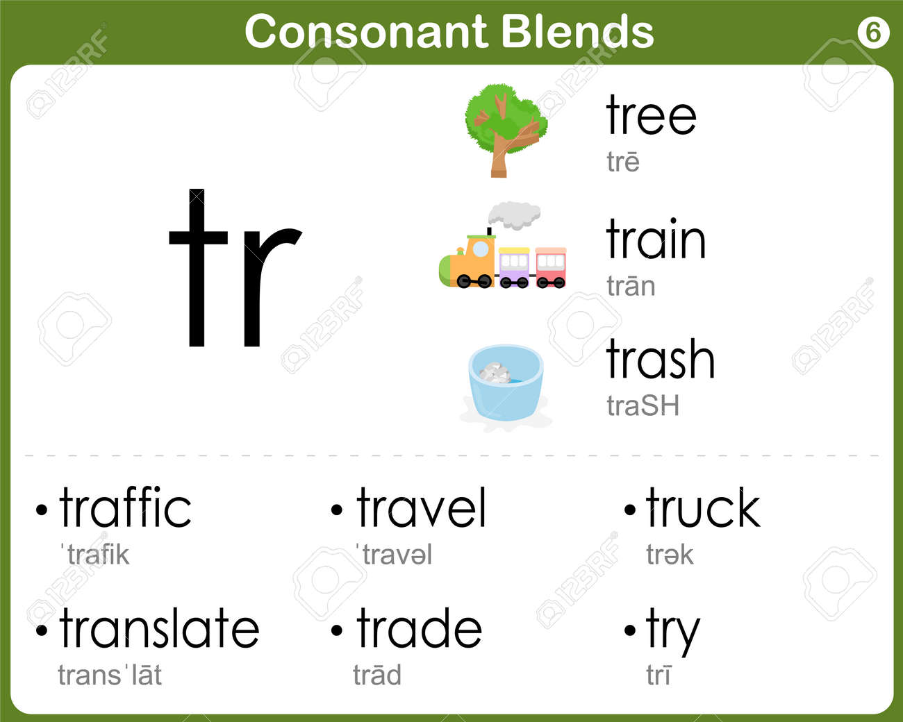 Consonant Blends Worksheet For Kids Royalty Free Cliparts, Vectors ...