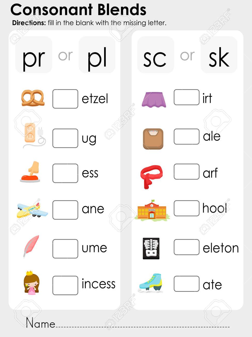 Worksheets Consonant Blend Worksheets consonant blends fill in the blank with missing letter worksheet for education stock