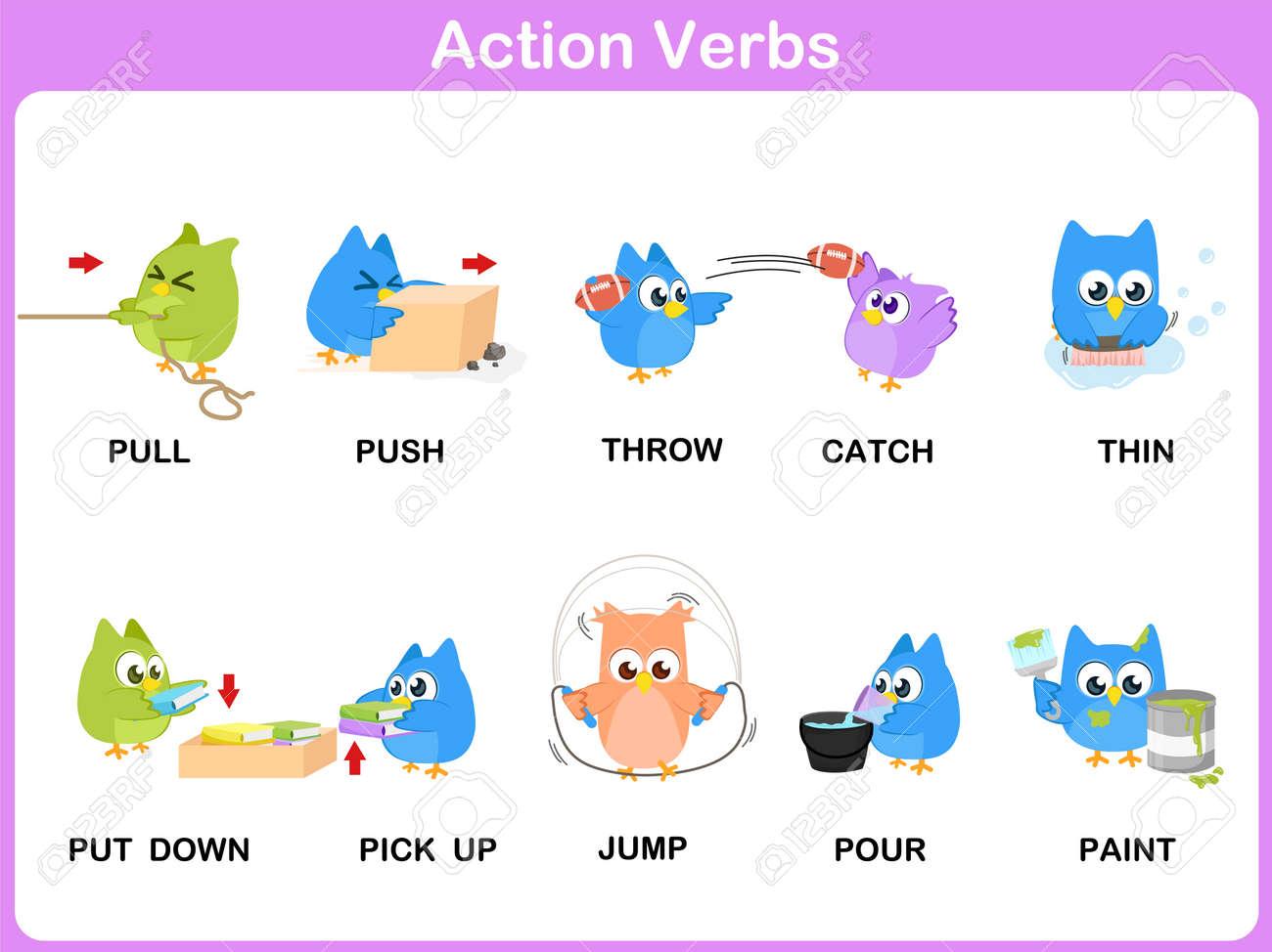 Acción Verbos Picture Dictionary (Actividad) Para Los Niños ...