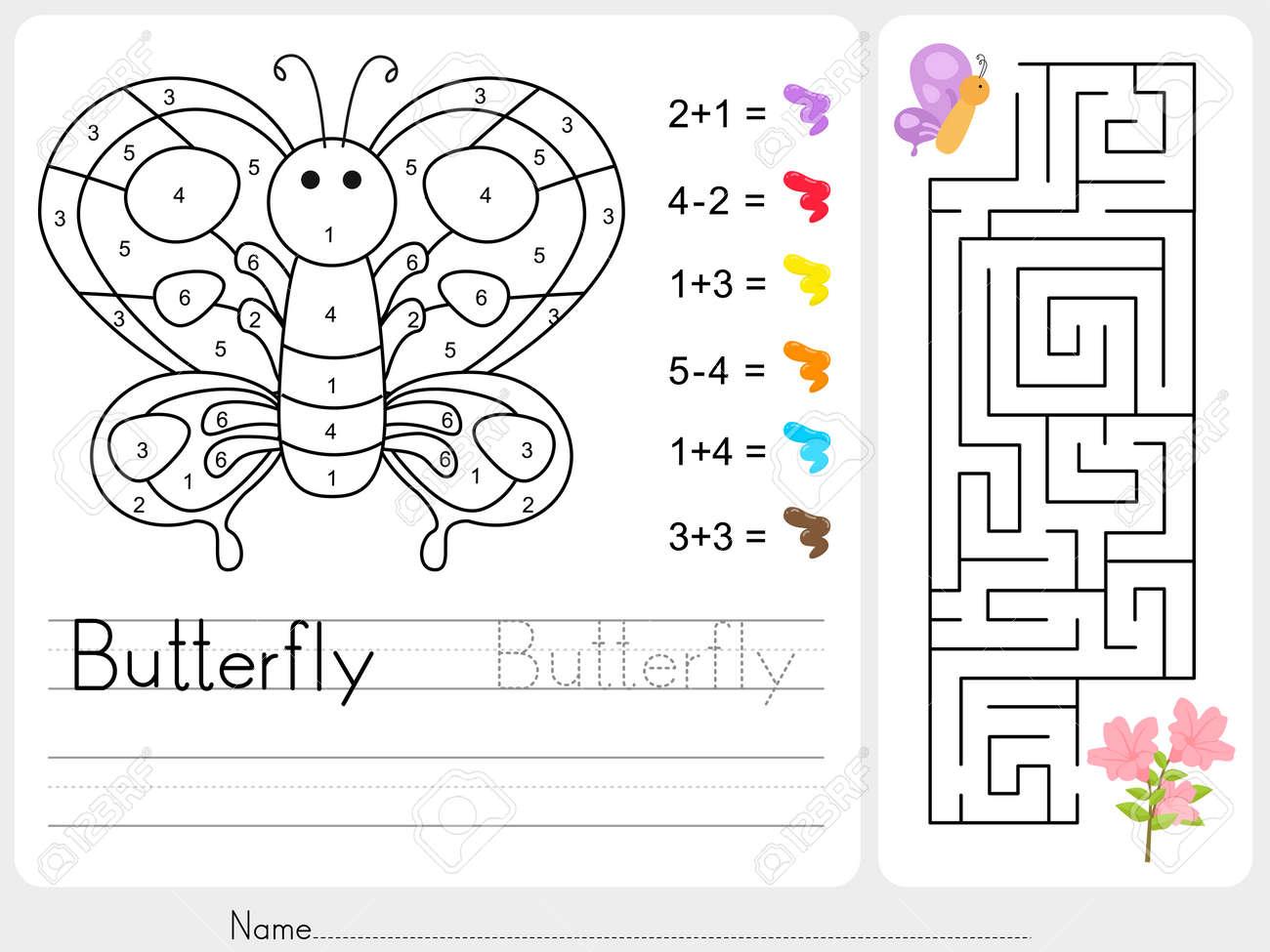 Labyrinth-Spiel, Farbe Durch Zahlen - Arbeitsblatt Für Die ...