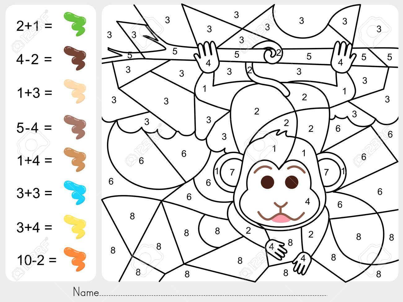 Dorable Colorear Por Números Hojas De Trabajo Galería - Dibujos Para ...