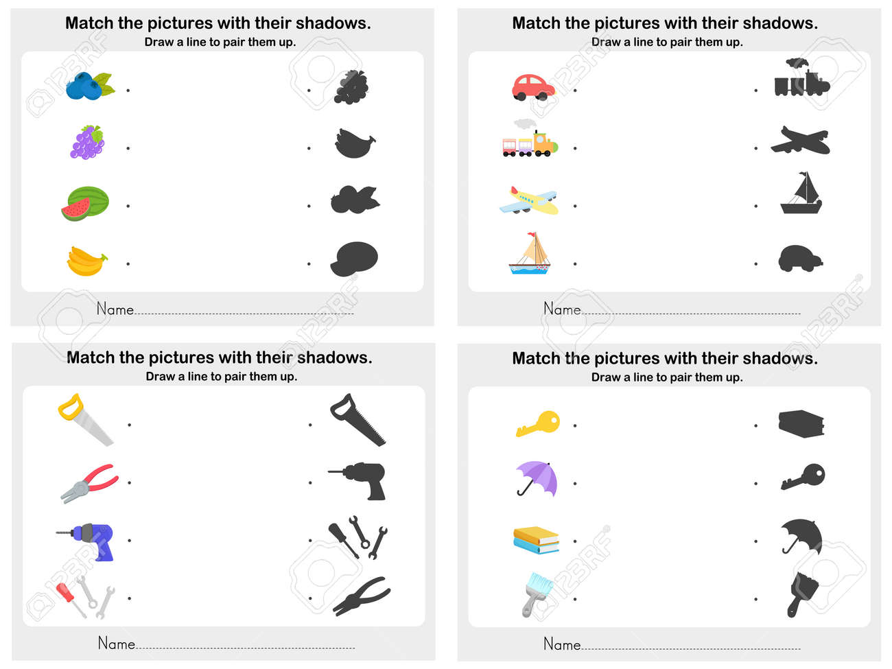 Workbooks worksheets on light and shadows : Match Object Shadow 4 Sheet - Worksheet For Education Royalty Free ...