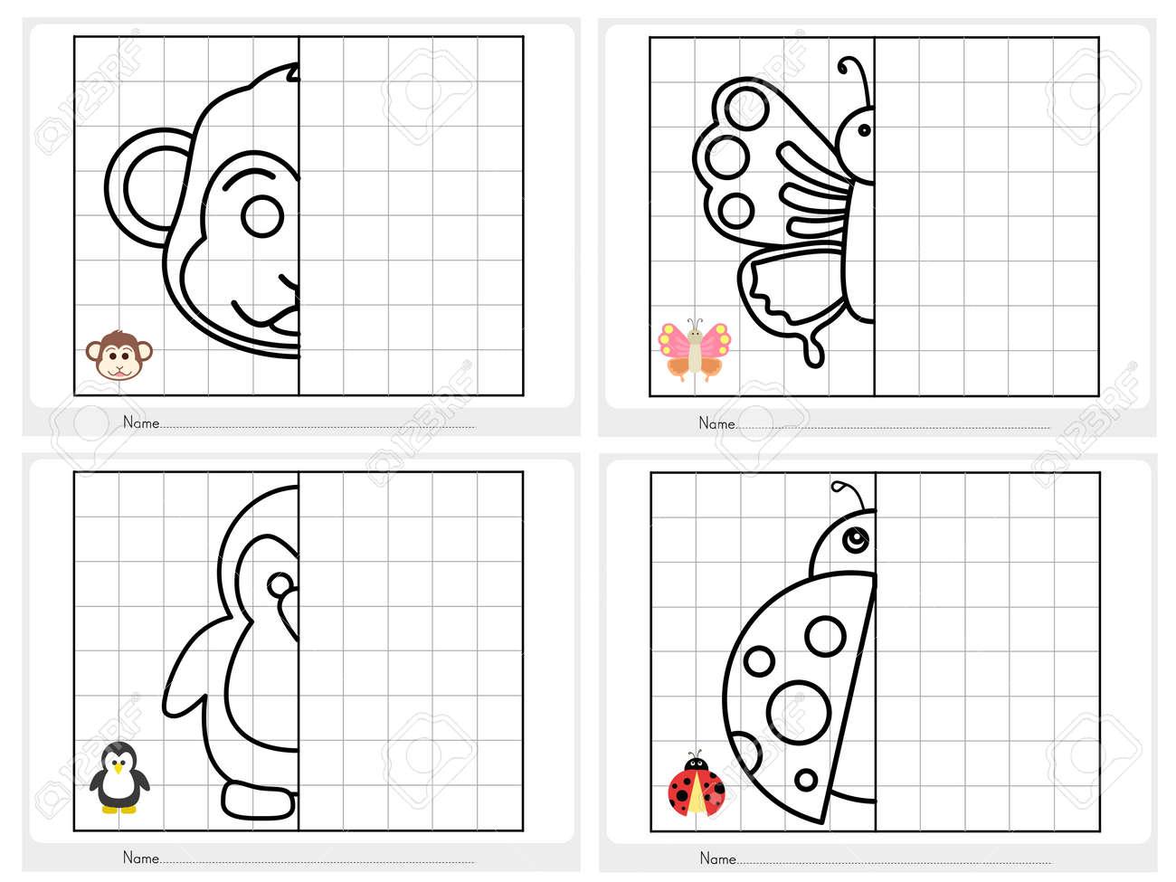 Imagen Simétrica - Hoja De Trabajo Para La Educación Ilustraciones ...