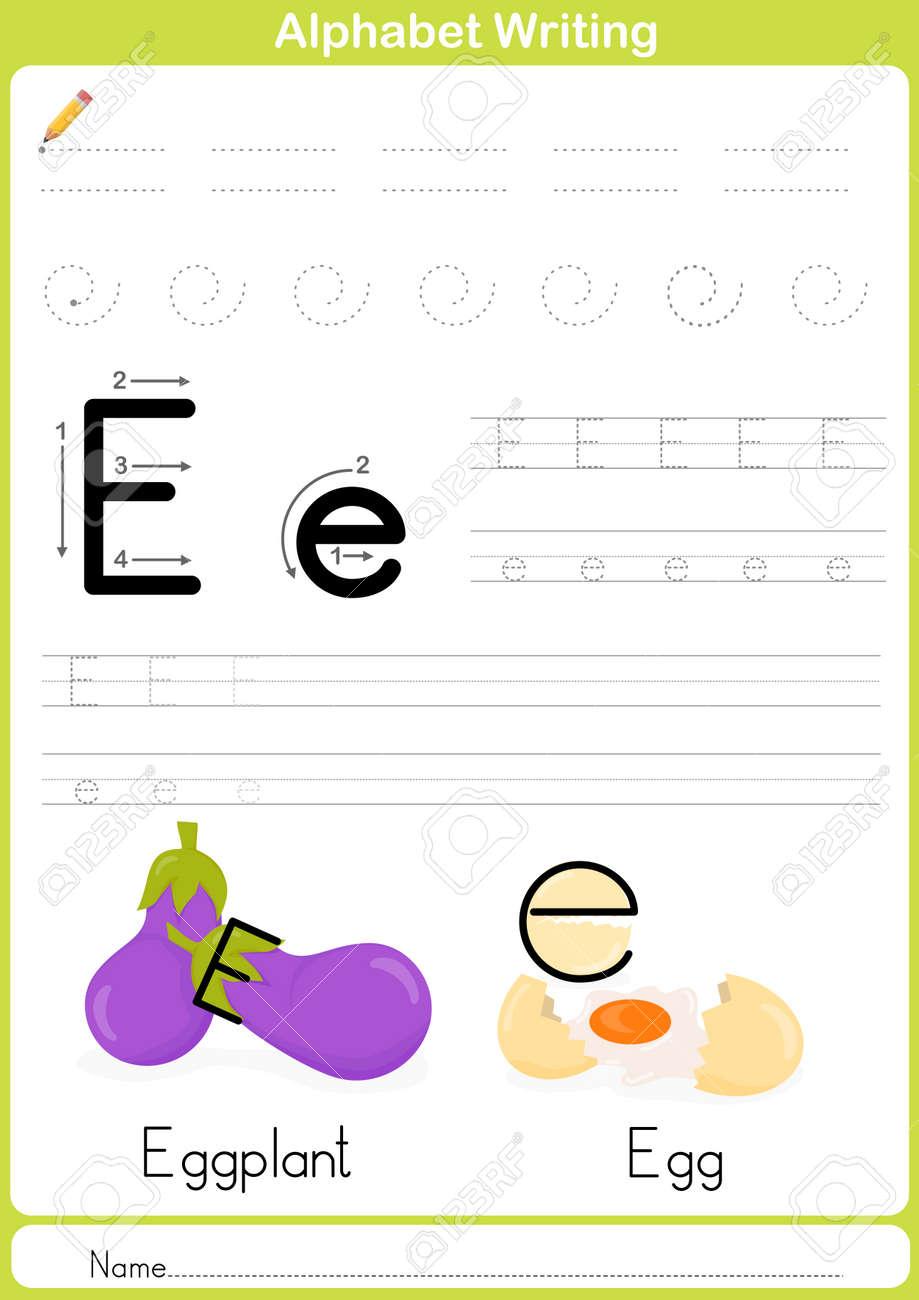 alphabet a z tracing worksheet exercises for kids illustration