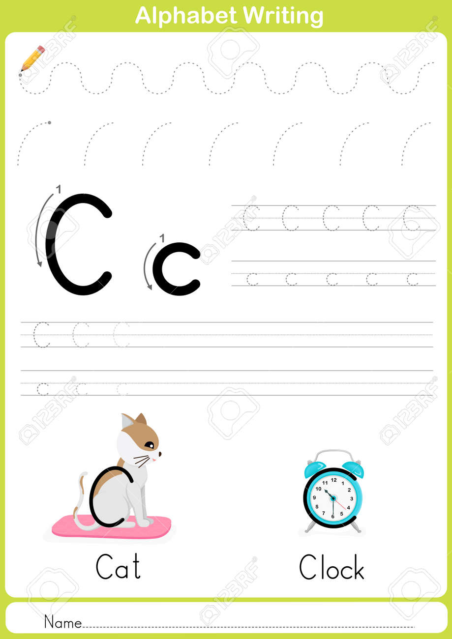 alphabet a z tracing worksheet exercises for kids illustration
