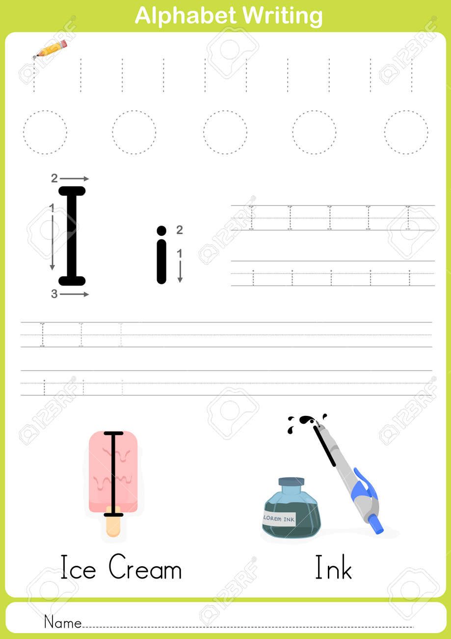Alphabet A-Z Tracing Worksheet, Exercises For Kids - Illustration ...