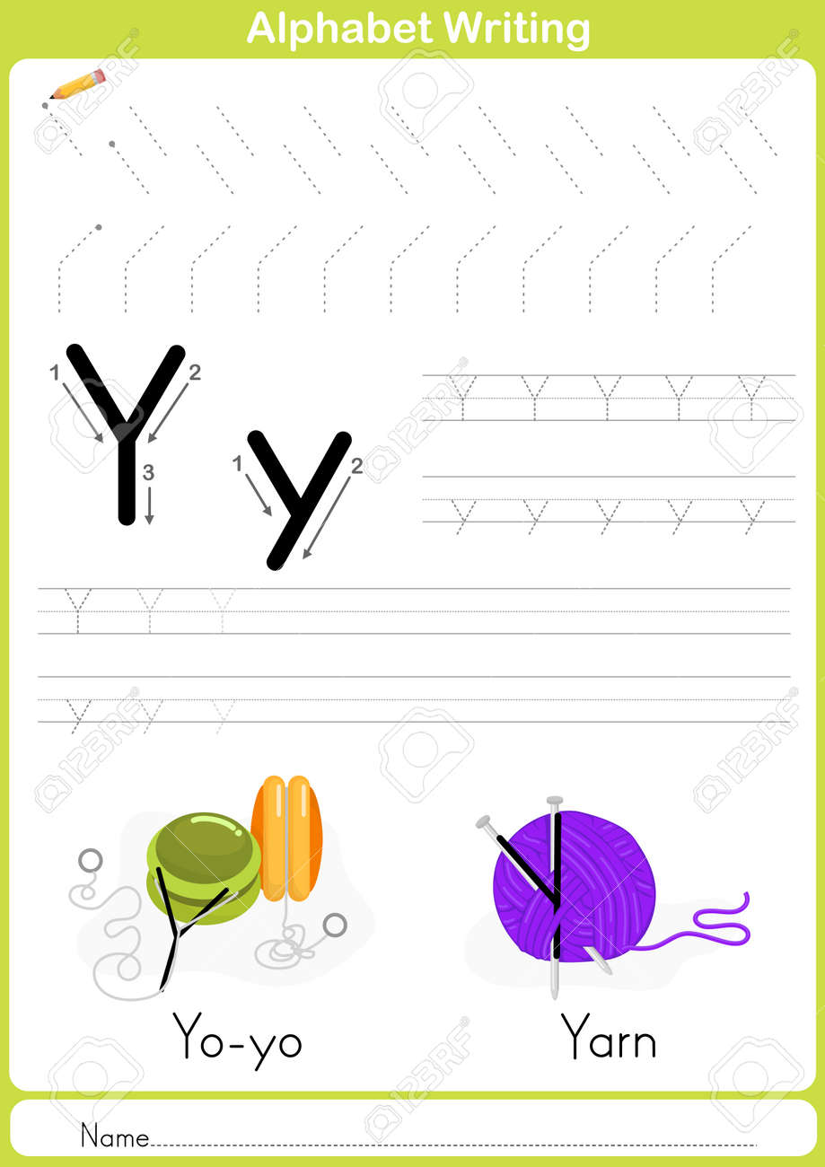 Alphabet A-Z Tracing Worksheet, Exercises For Kids - Illustration ...
