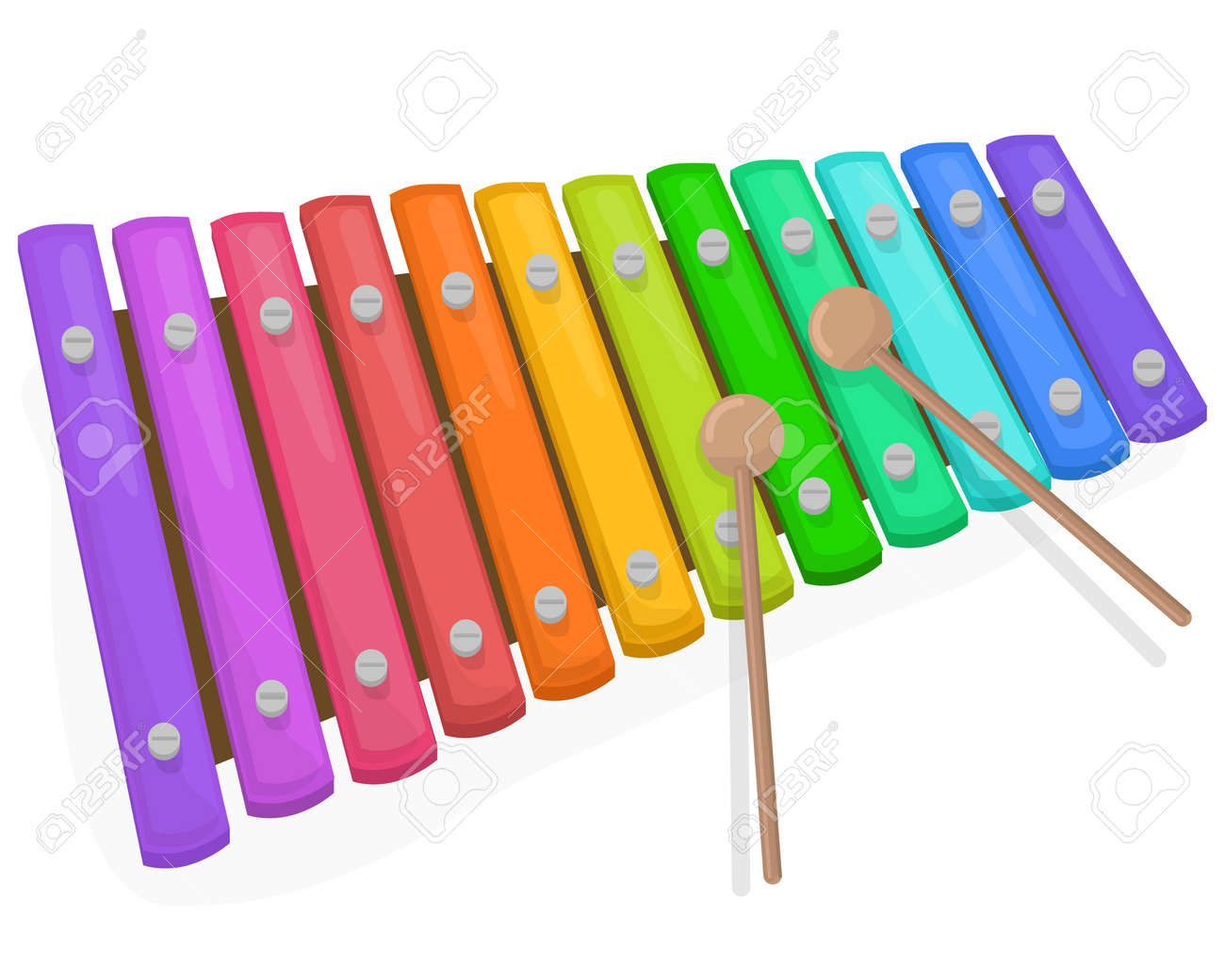 Colorful xylophone with mallets on a white background - 50129530