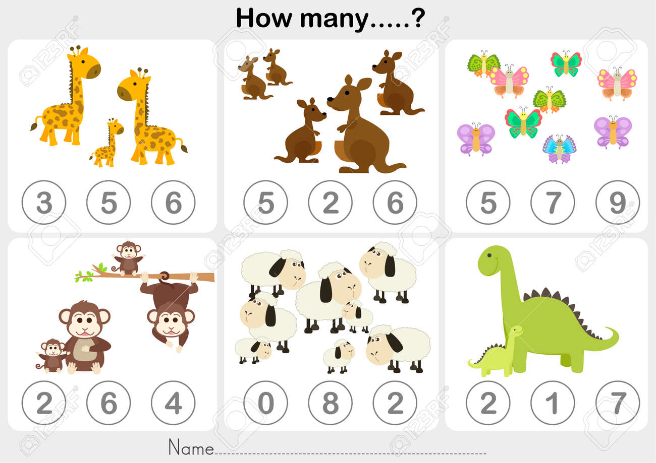 Counting Object For Kids - Education Worksheet Royalty Free Cliparts ...
