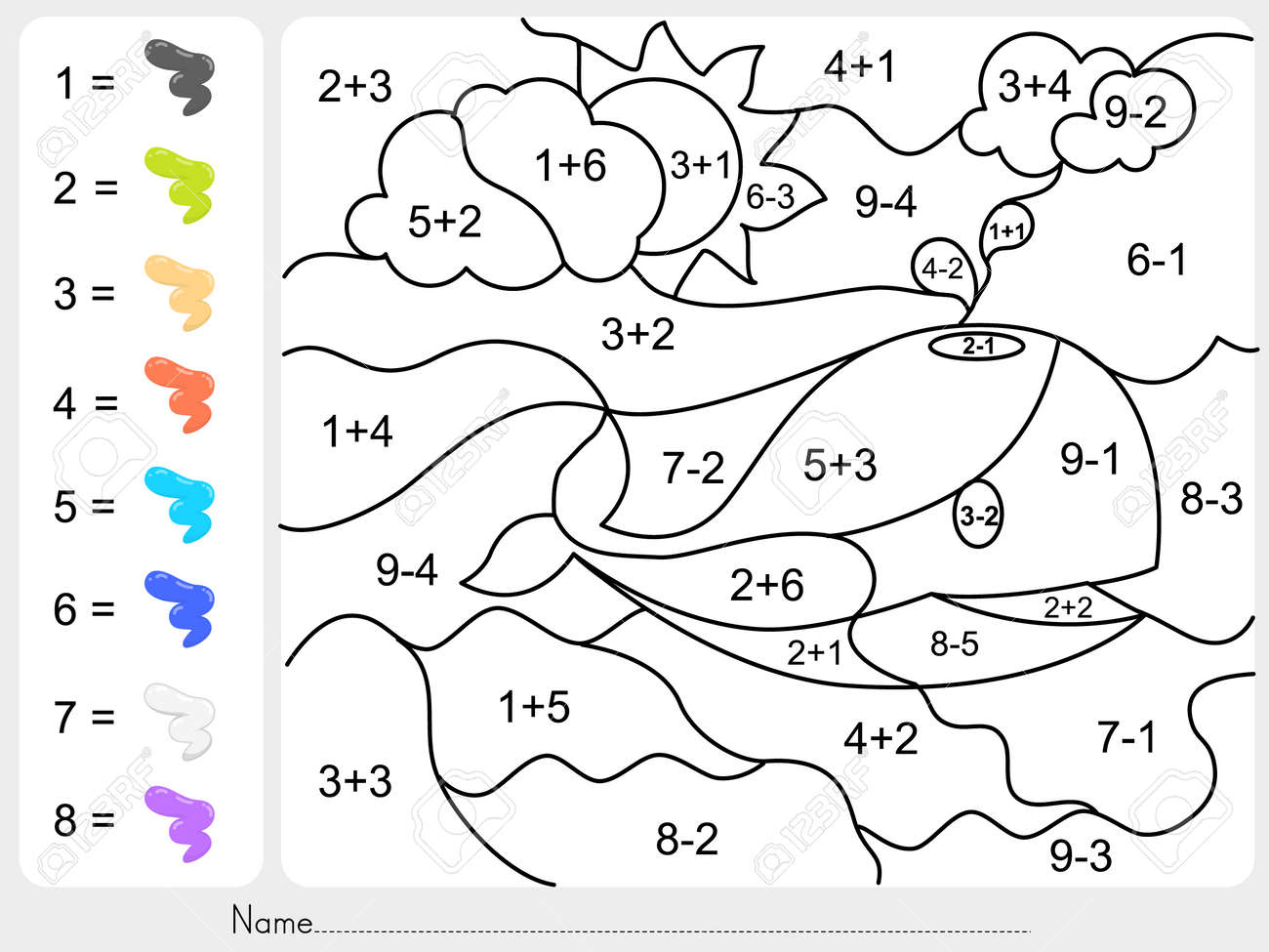 math worksheet : paint color by addition and subtraction numbers  worksheet for  : Color By Subtraction Worksheets
