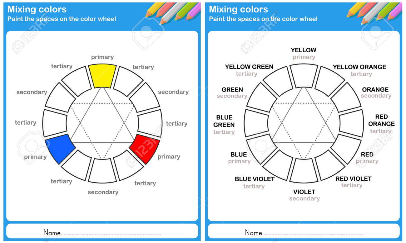 Mixing Color Paint The Space On The Color Wheel Royalty Free