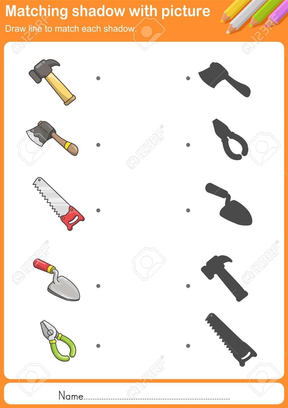 Spiel Bau-Tools Mit Schatten - Arbeitsblatt Für Die Bildung ...