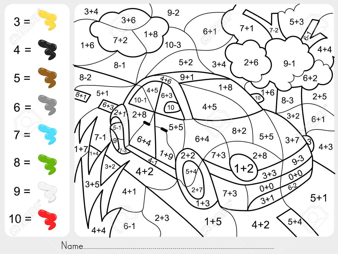 La Pintura Del Color Por Números De Suma Y Resta - Hoja De Trabajo ...