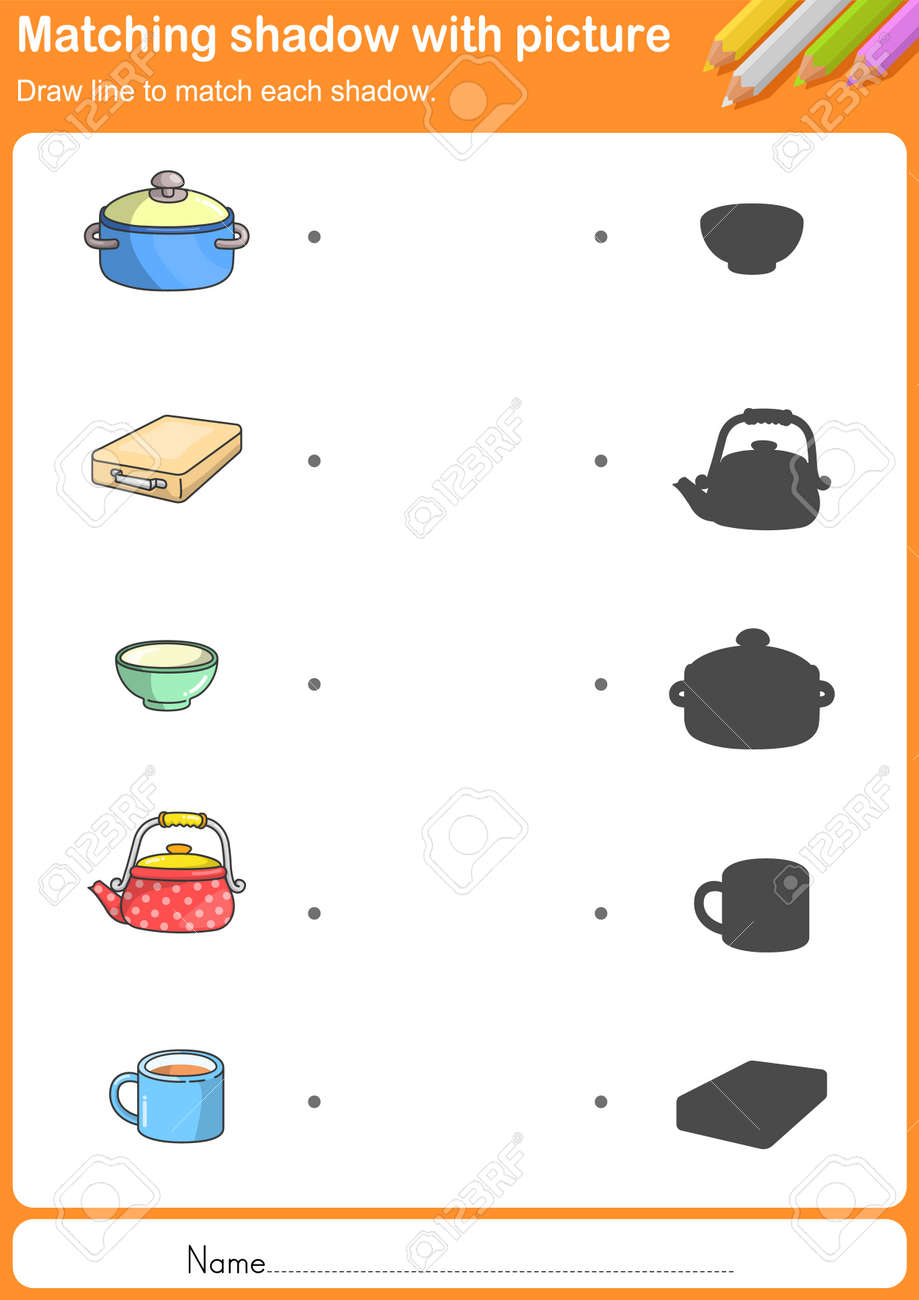 Kitchen Tools Worksheet Match Kitchen Tools With Shadow  Worksheet For Education Royalty