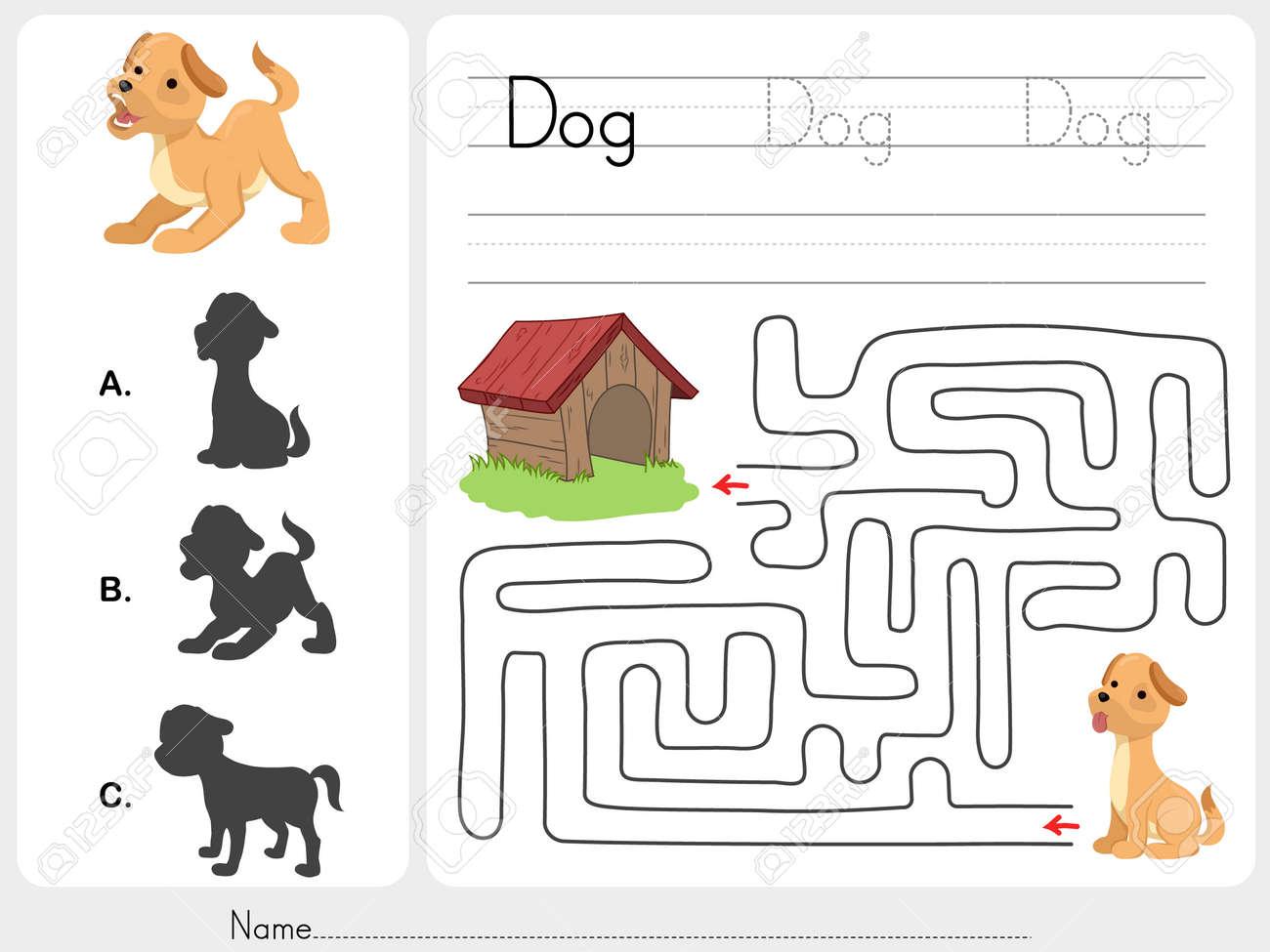 Maze Spiel Und Spiel Hund Mit Schatten - Arbeitsblatt Für Die ...