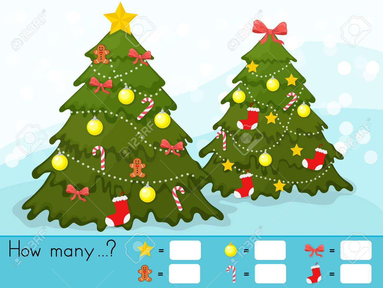 Navidad Tema De La Hoja De Actividades Cuenta Del Juego Cuantos