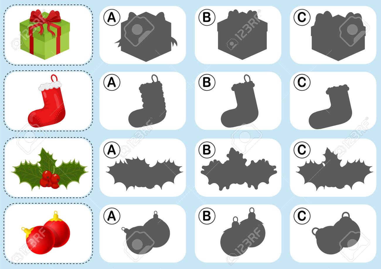 Navidad Tema De La Hoja De Actividades - Unir La Sombra - Hoja De ...