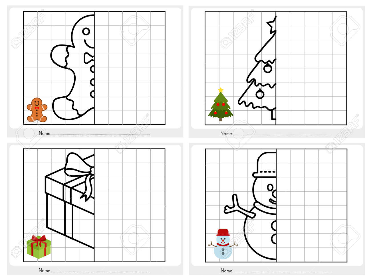 Christmas theme activity sheet - Symmetrical picture - Worksheet..