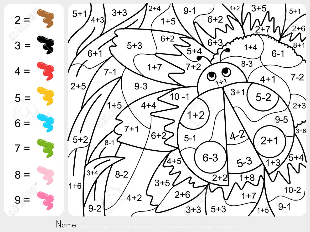 La Pintura Del Color Por Números - La Suma Y La Resta Hoja De ...