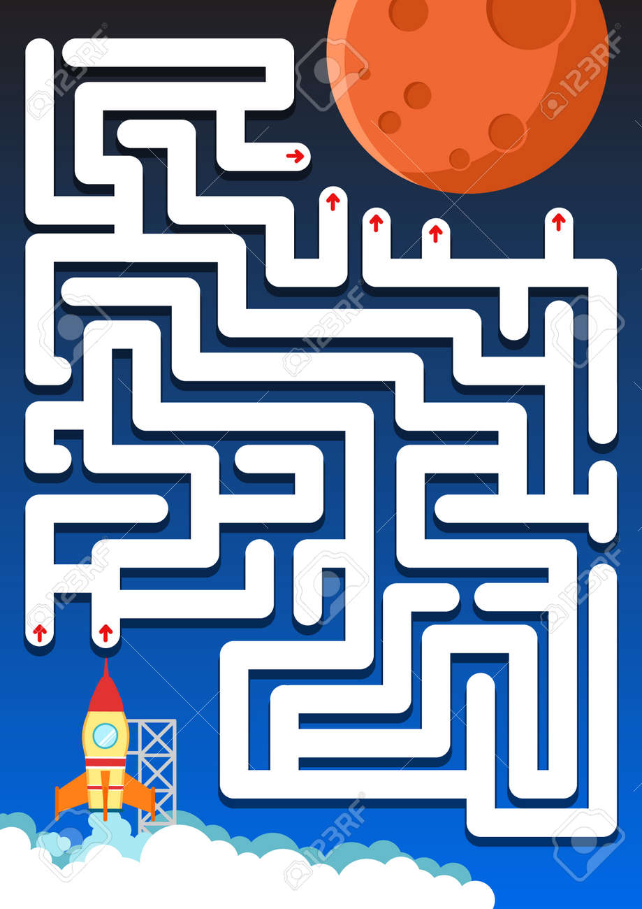 Labyrinth-Spiel: Hilfe Rakete Den Weg Zu Mars Finden - Arbeitsblatt ...
