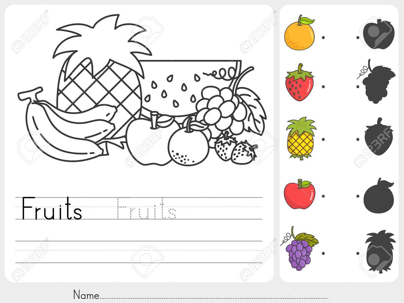 Früchte Malen Und Passen Mit Schatten Arbeitsblatt Für Bildung