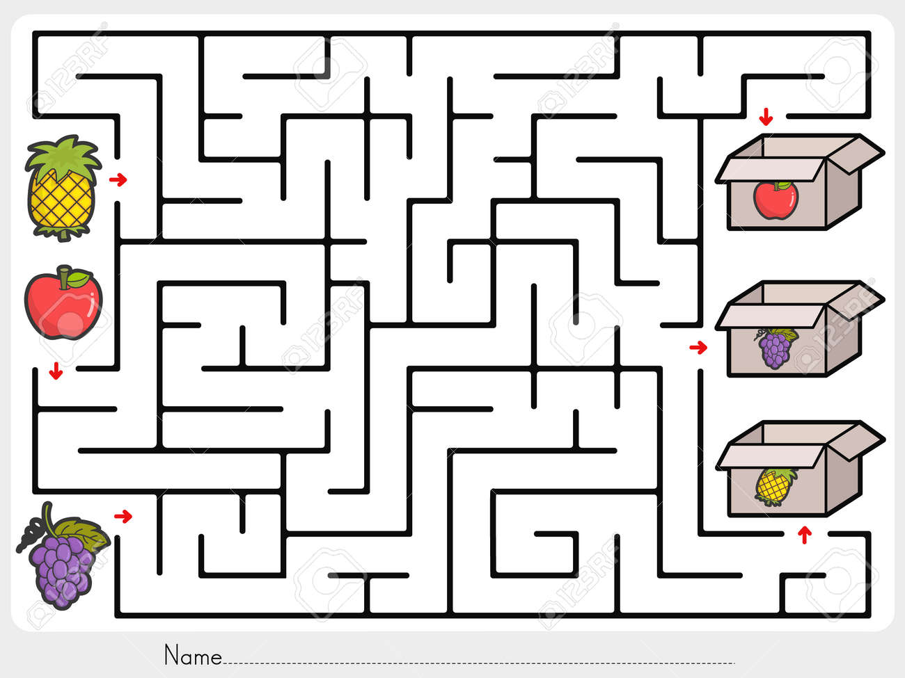maze game pick fruits box worksheet for education royalty free