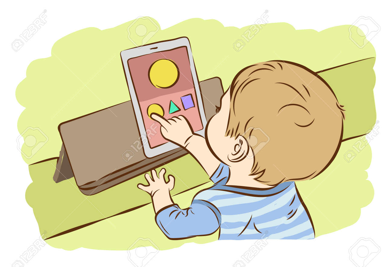 Image result for kids playing in tablet clip art