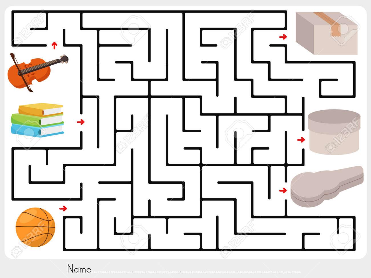 Labyrinth Spiel: Wähle Violine, Bücher Und Ball Zu Box ...