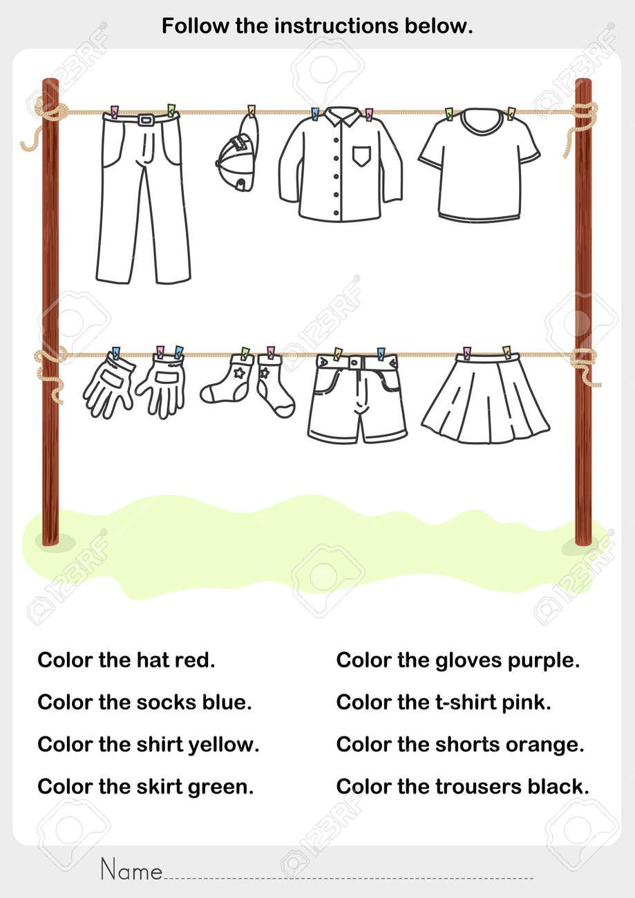 Farbe Das Bild - Trockene Kleidung In Der Sonne - Arbeitsblatt Für ...