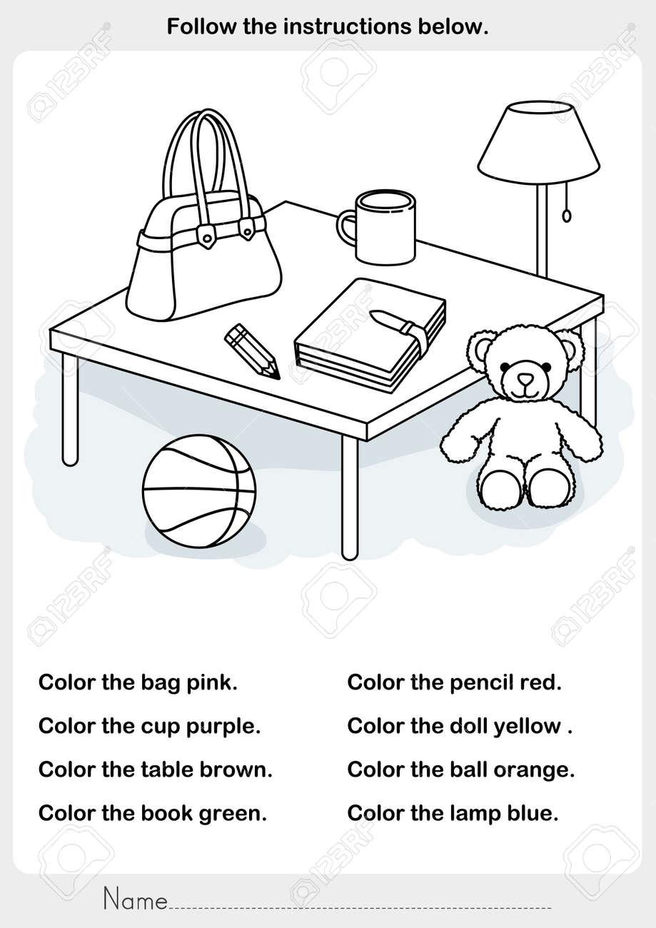 Farbe Das Bild - Objekte Im Raum - Arbeitsblatt Für Bildung ...