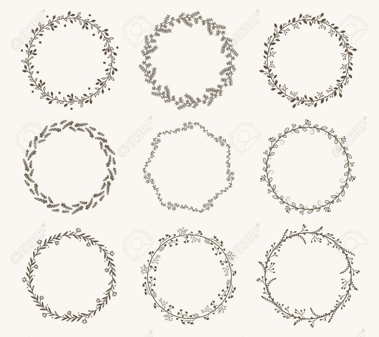 Vector set of border circle frame - 139992095