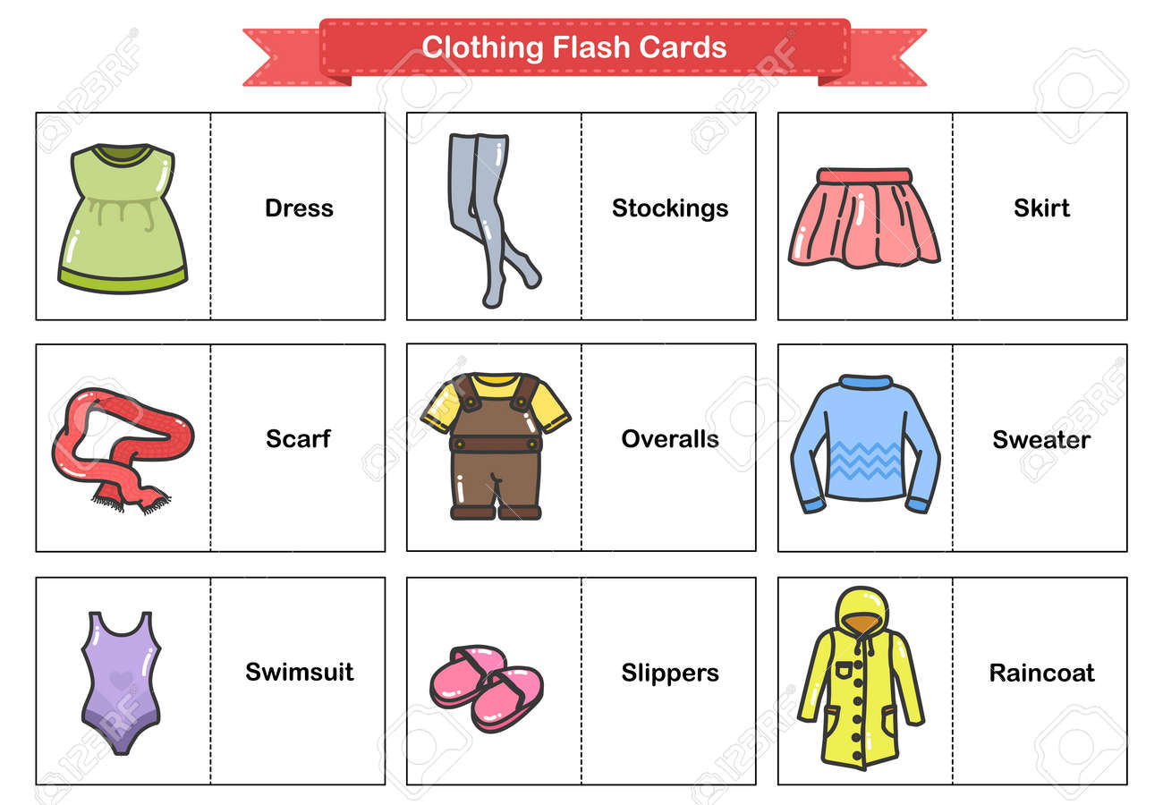 Clothing Flashcards Woman And Man Clothes And Accessories Collection Flashcards For Education Royalty Free Cliparts Vectors And Stock Illustration Image 145034439