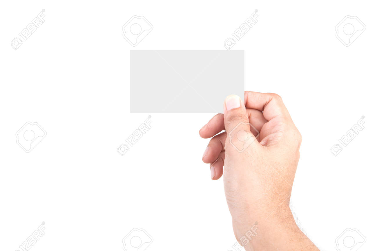 Male Caucasian hand gestures isolated over the white background. HAND Holding CARD. - 125114572