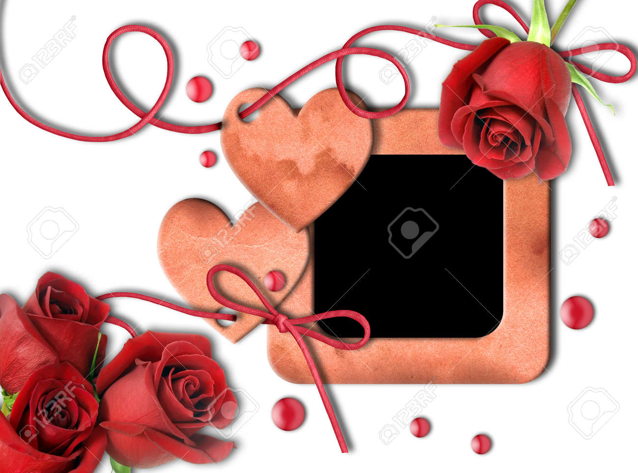 Vintage photo frame, red roses and heart on white background.  Valentine's Day Stock Photo - 11808873