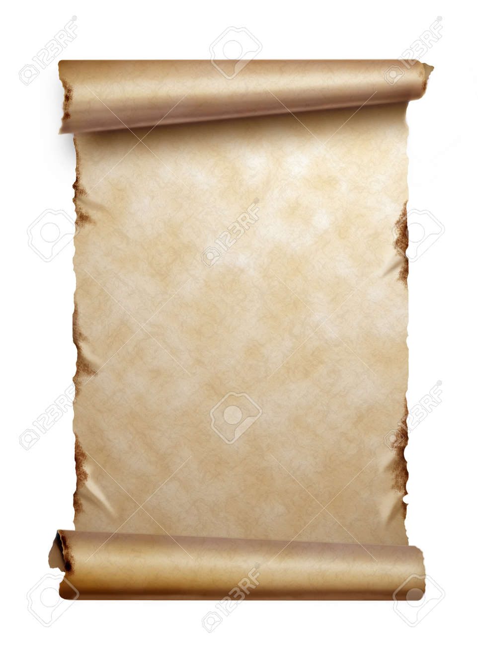 Scroll of old paper with curled edges isolated on white Stock Photo - 11903277