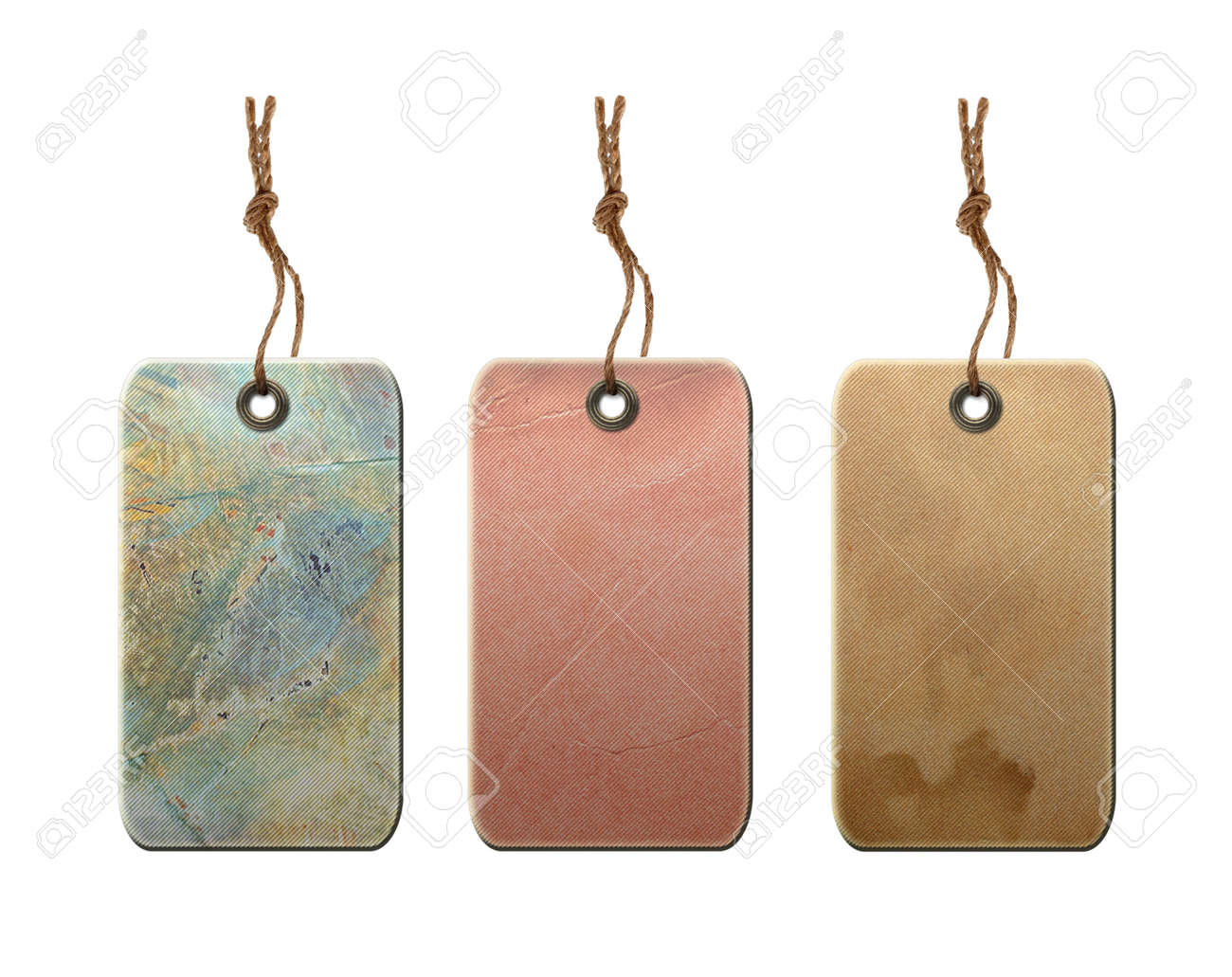 Vintage Blank Gift Tags With String Isolated On White Background