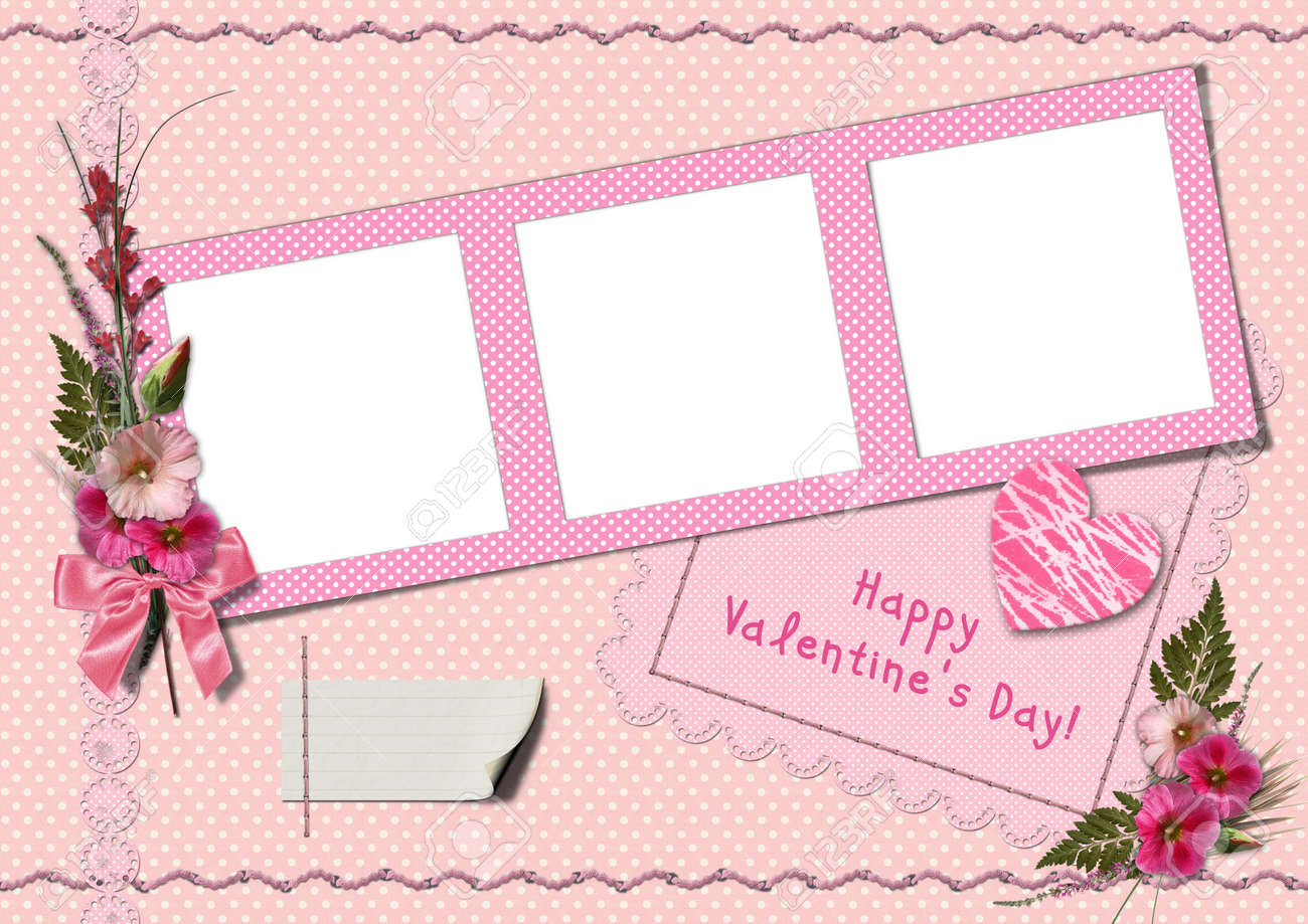 Happy Valentine's Day - Retro Photo Album. The Frames With A ...