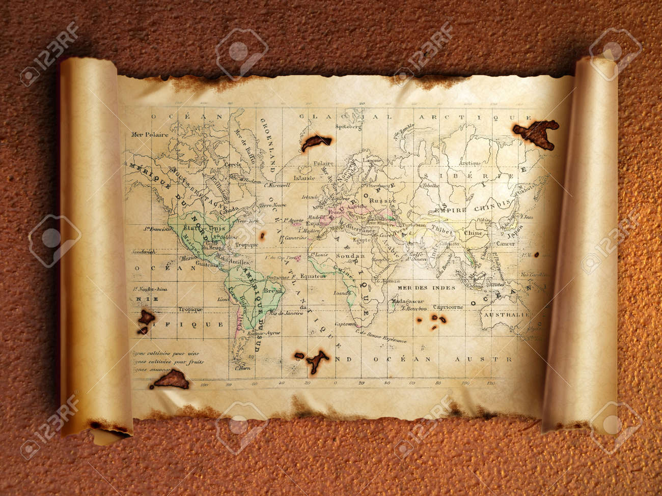 ancient scroll map with curled edges, on the old rusty background Stock Photo - 11976862