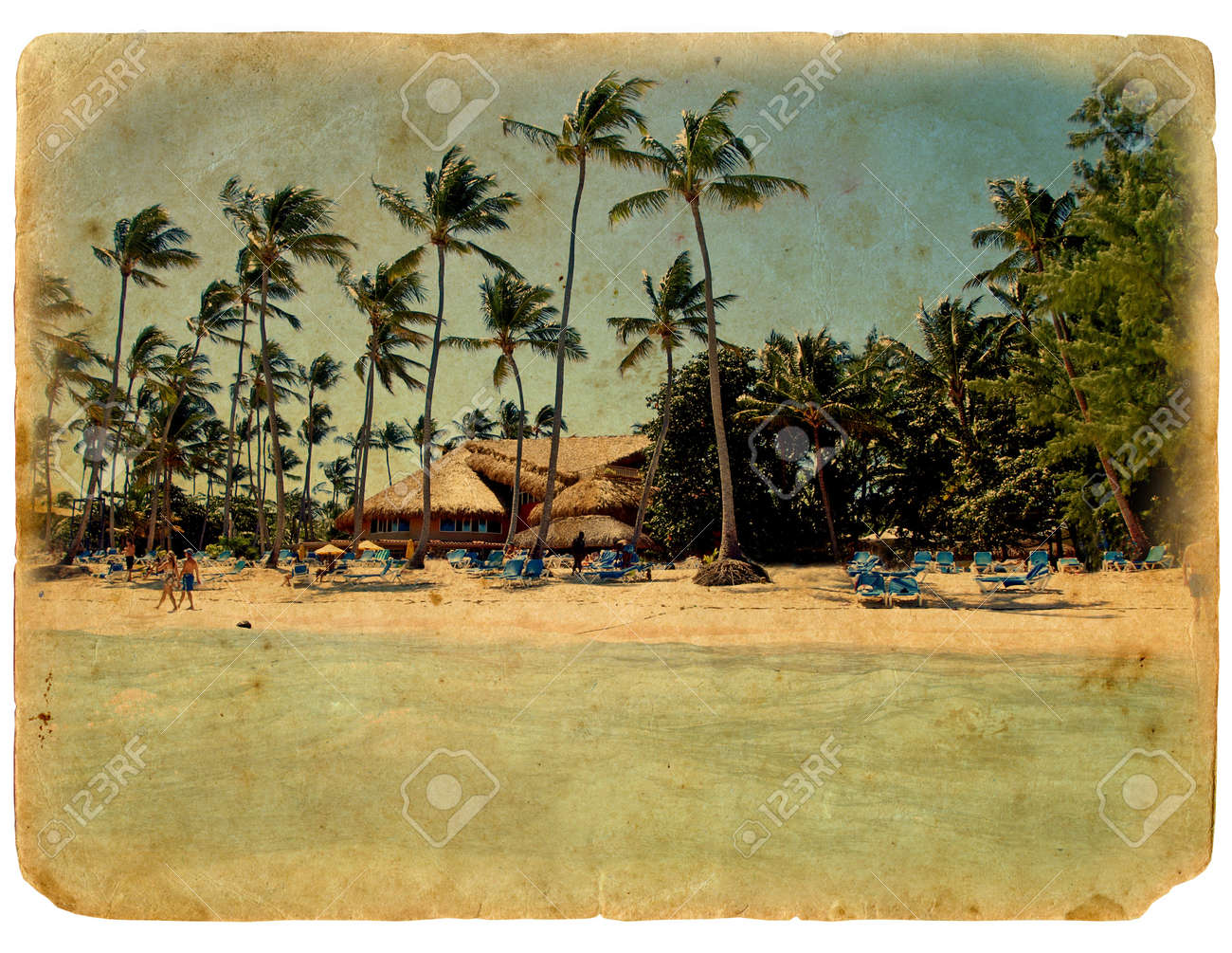rest on the beach, lounge chairs, palm trees, the bungalows. The postcard, in a stylized grunge and retro style. Isolated on white background Stock Photo - 11999284