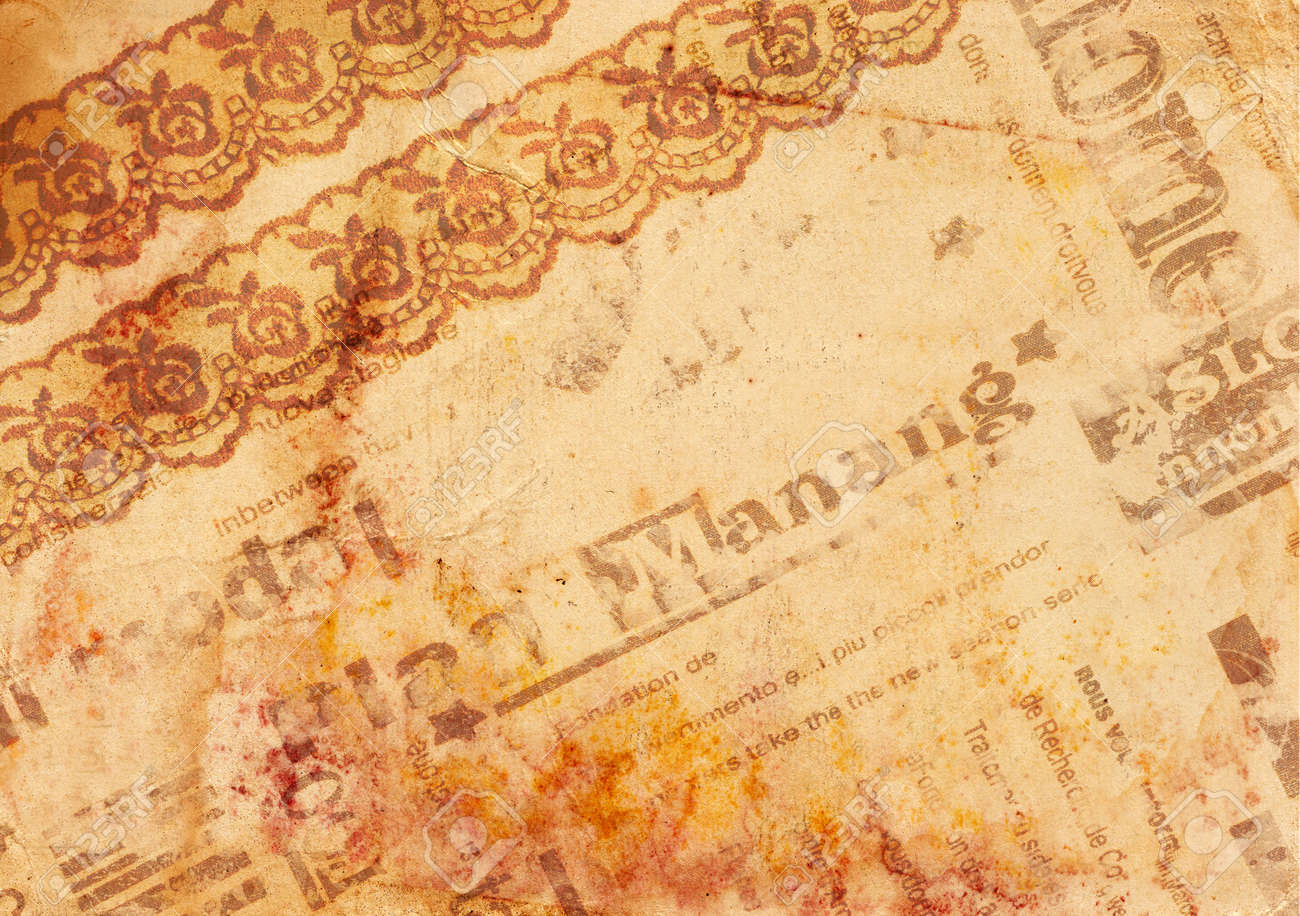 Vintage De Fondo Papel Viejo Con Encaje Textura Periódico Y