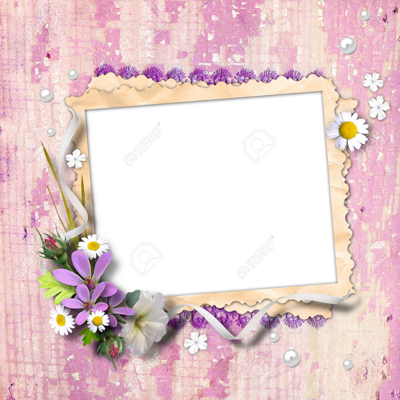 Retro photo framework with flowers on textured background vintage. Page to design photo books Stock Photo - 12650551