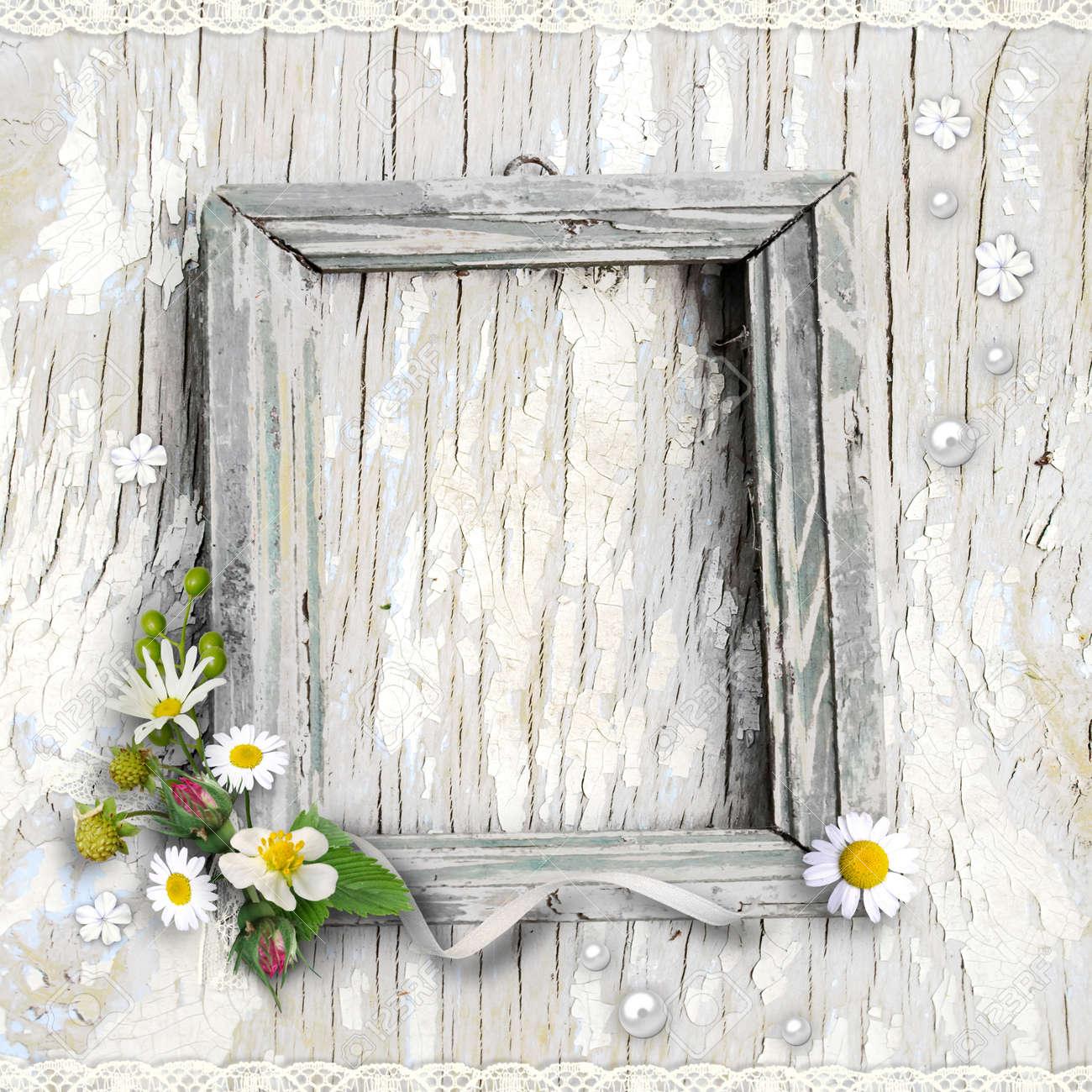 Retro-Foto-Rahmen Mit Blumen Auf Strukturiertem Hintergrund Jahrgang ...
