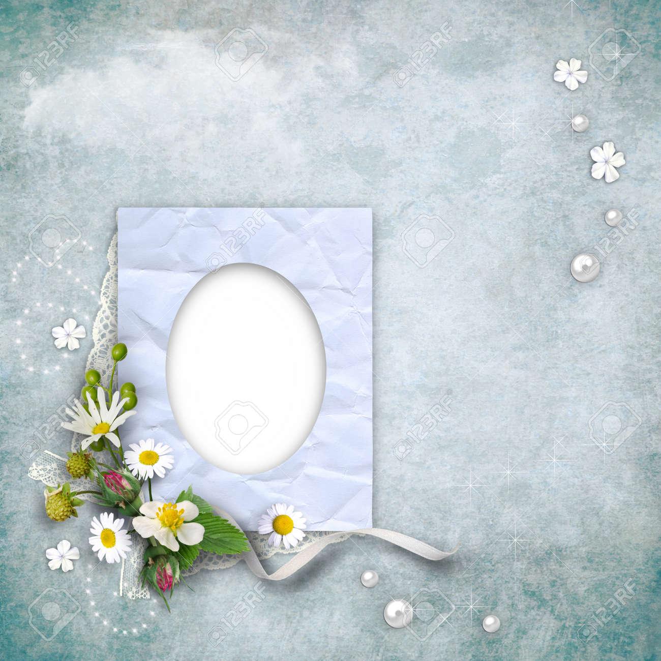 Vintage-Papier Bilderrahmen Mit Blumen Auf Strukturiertem ...