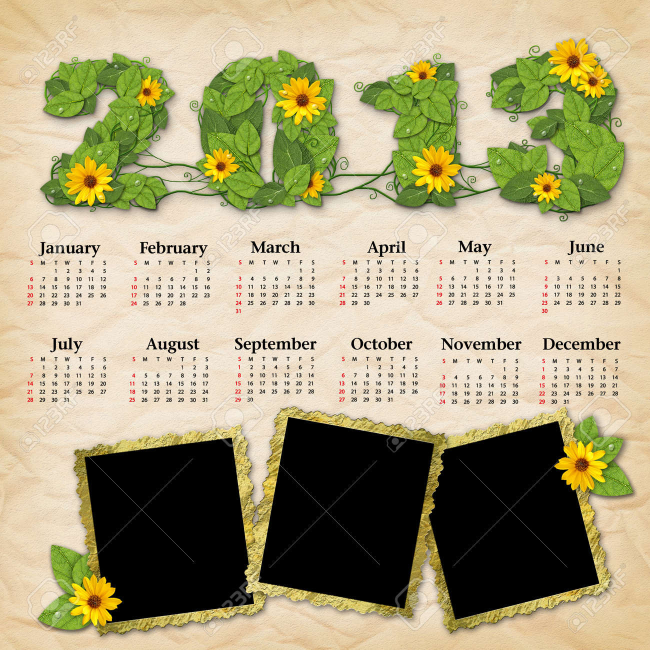 Vintage calendar 2013 with a template for picture edges Stock Photo - 16098030